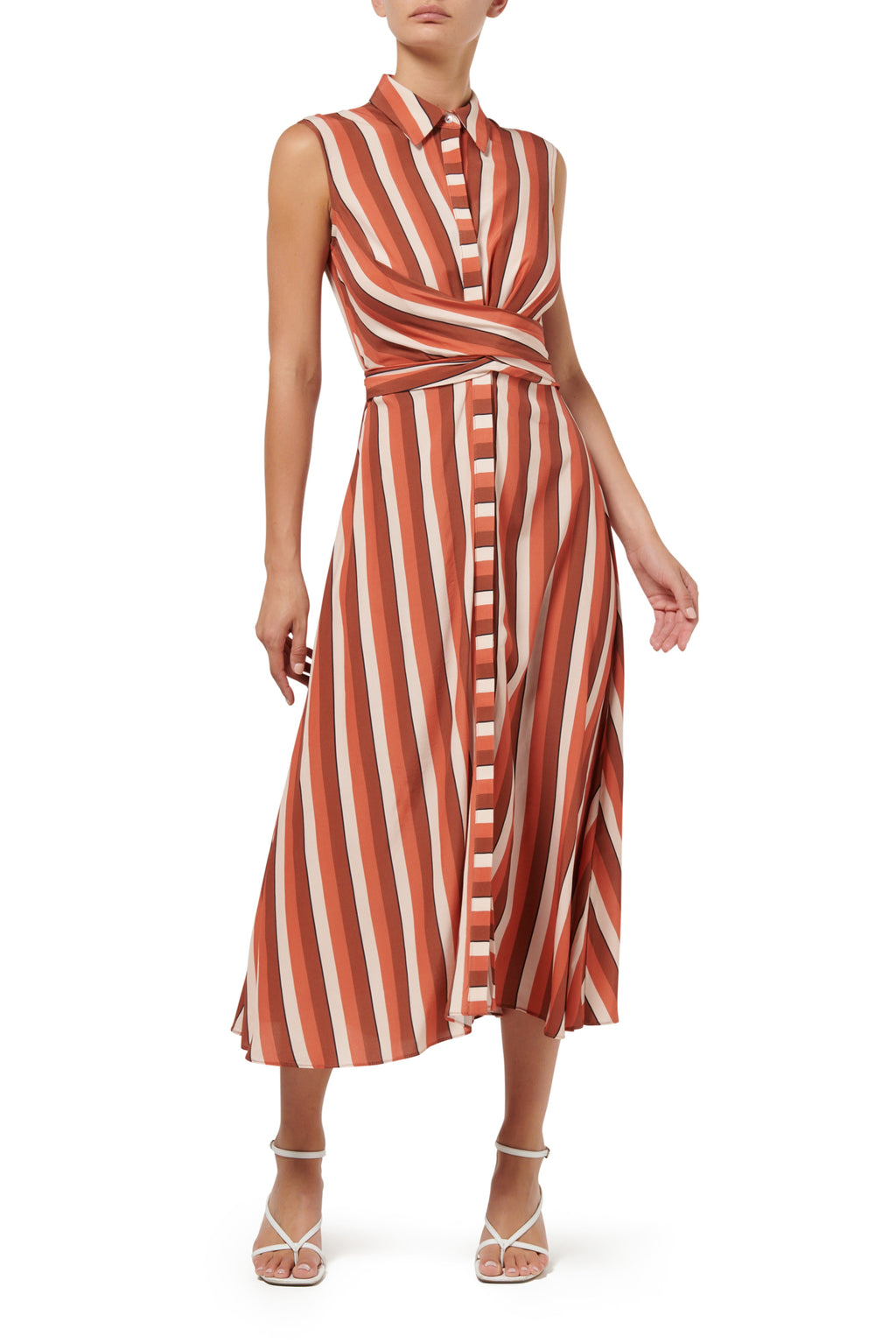 Calypso Sleeveless Shirt Dress - Peach Stripe - PRE ORDER