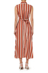 Dakota Sleeveless Shirt Dress - Peach Stripe