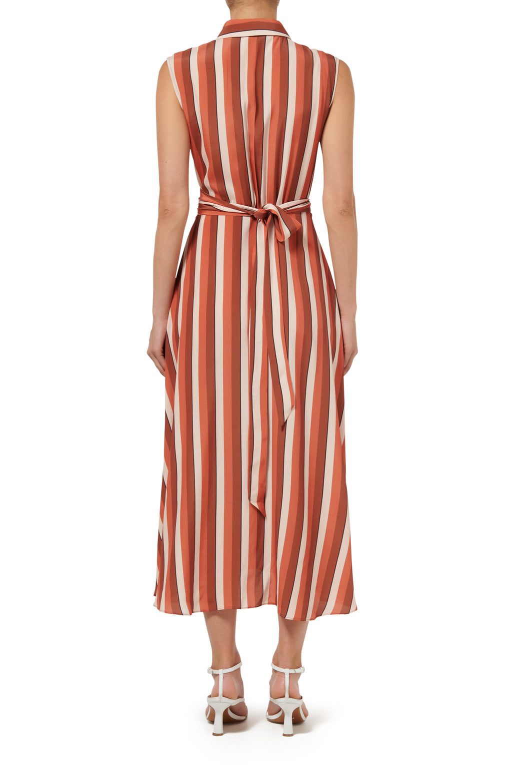 Calypso Sleeveless Shirt Dress - Peach Stripe