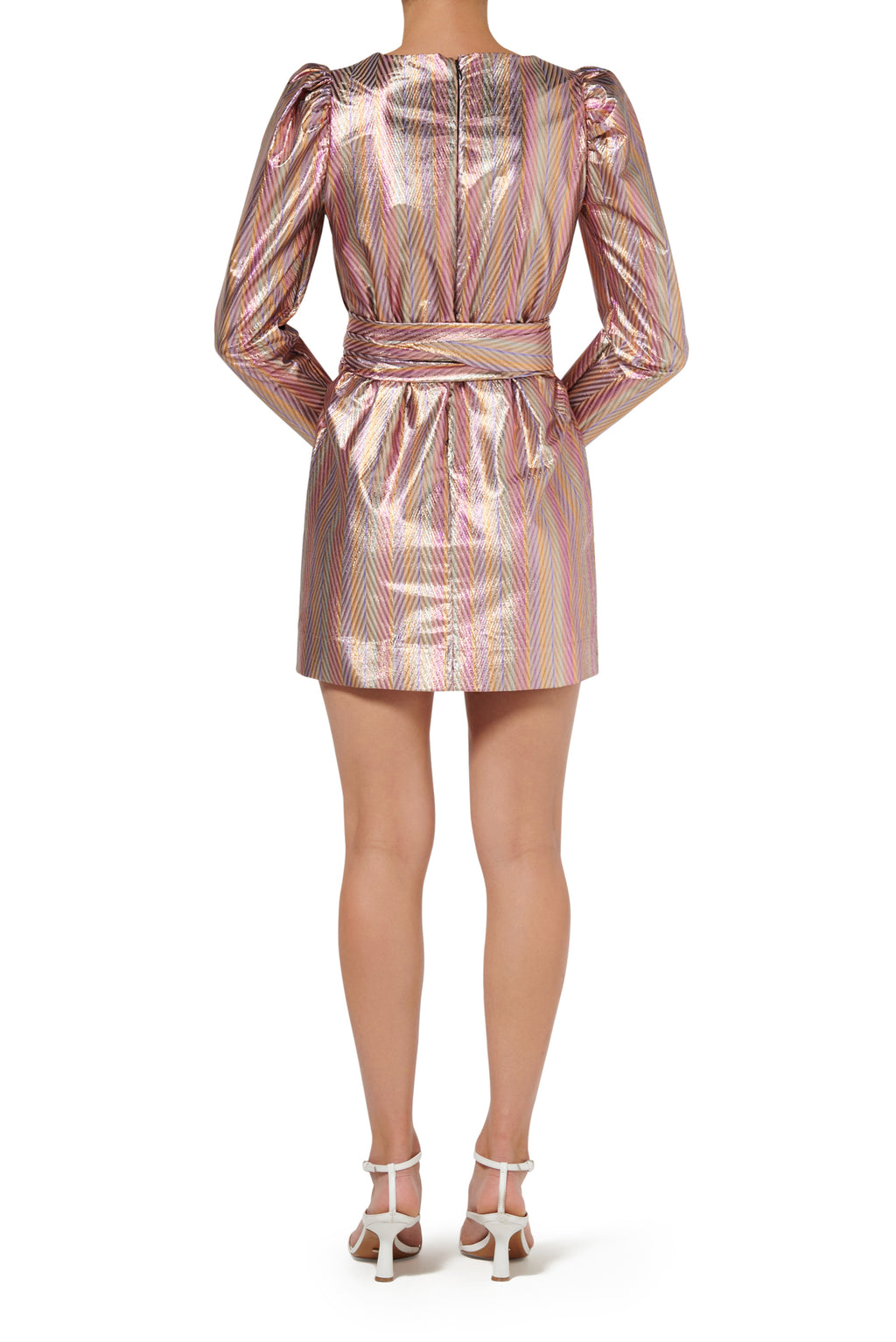 Clio Mini Dress - Metallic Stripe