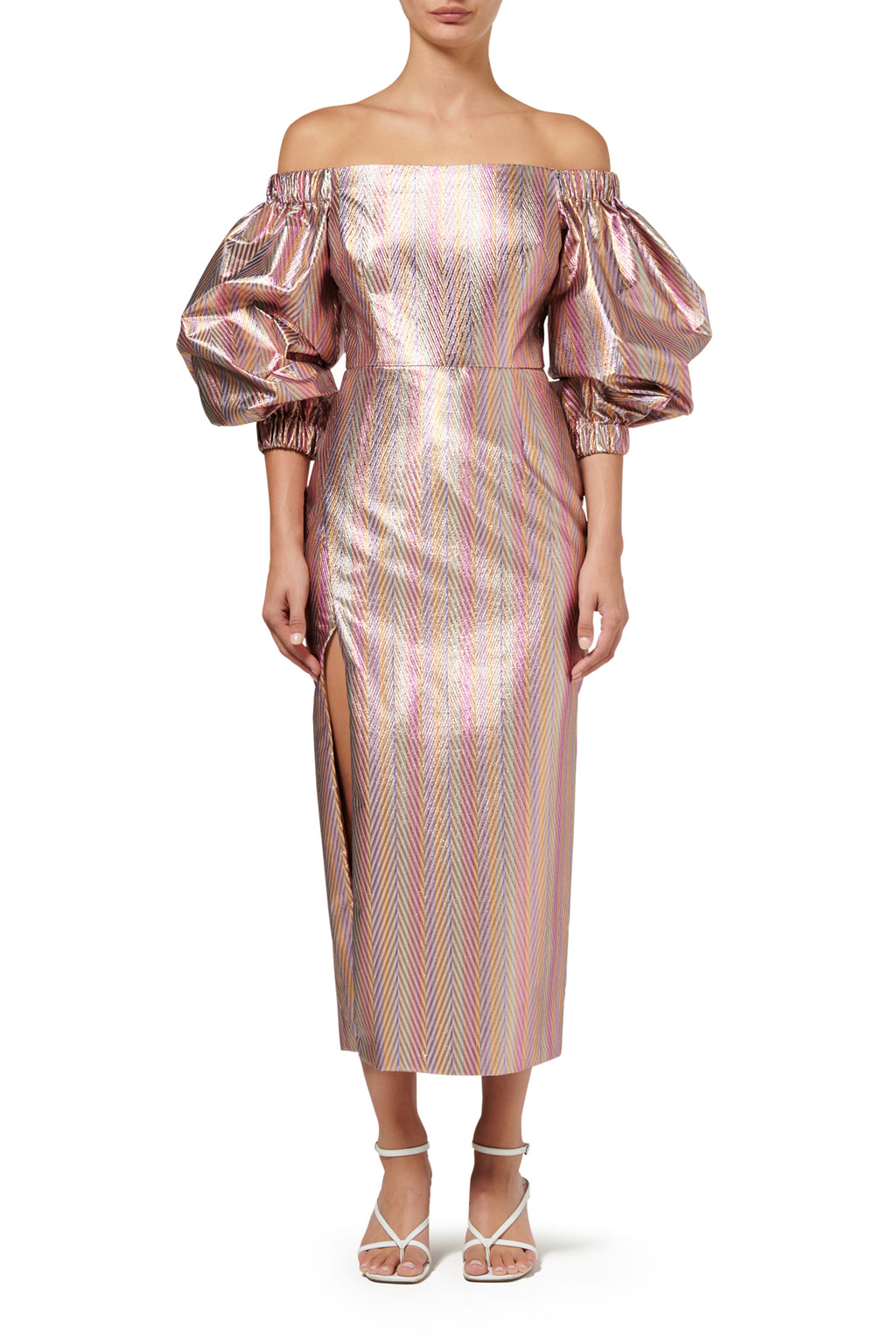 Clio Midi Dress - Metallic Stripe
