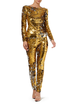 Fashion Rebellion Sequin Long Sleeve Top - Gold
