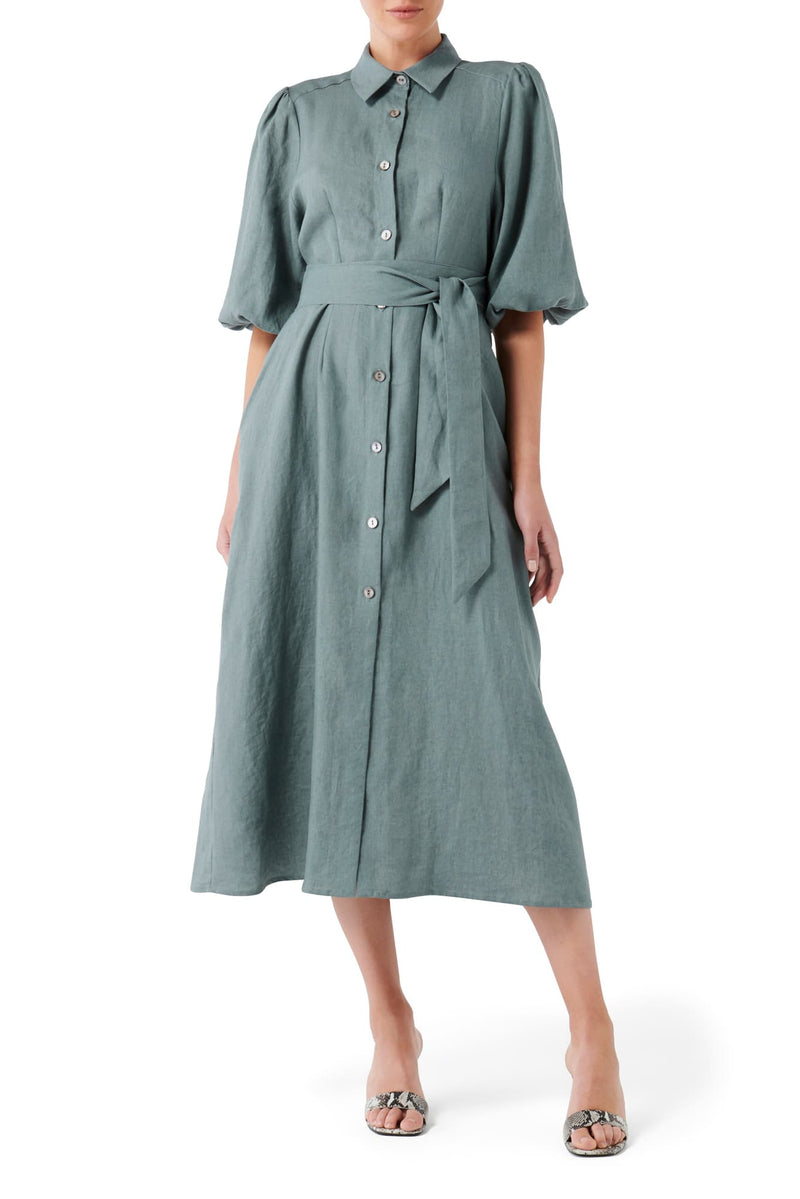 Anixi Shirt Dress - Fern Green