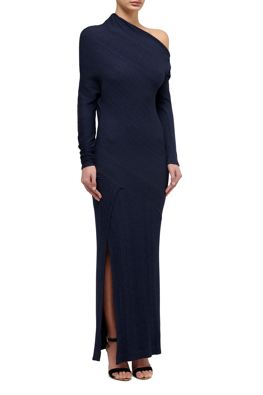 Asymmetric Knit Maxi Dress - Navy