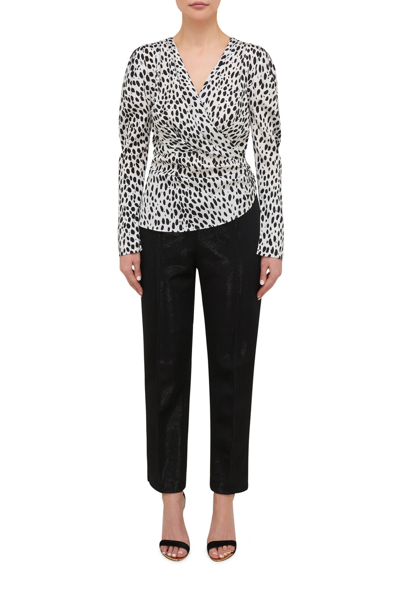 Running Wild Mutton Sleeve Top - Dalmatian Spot