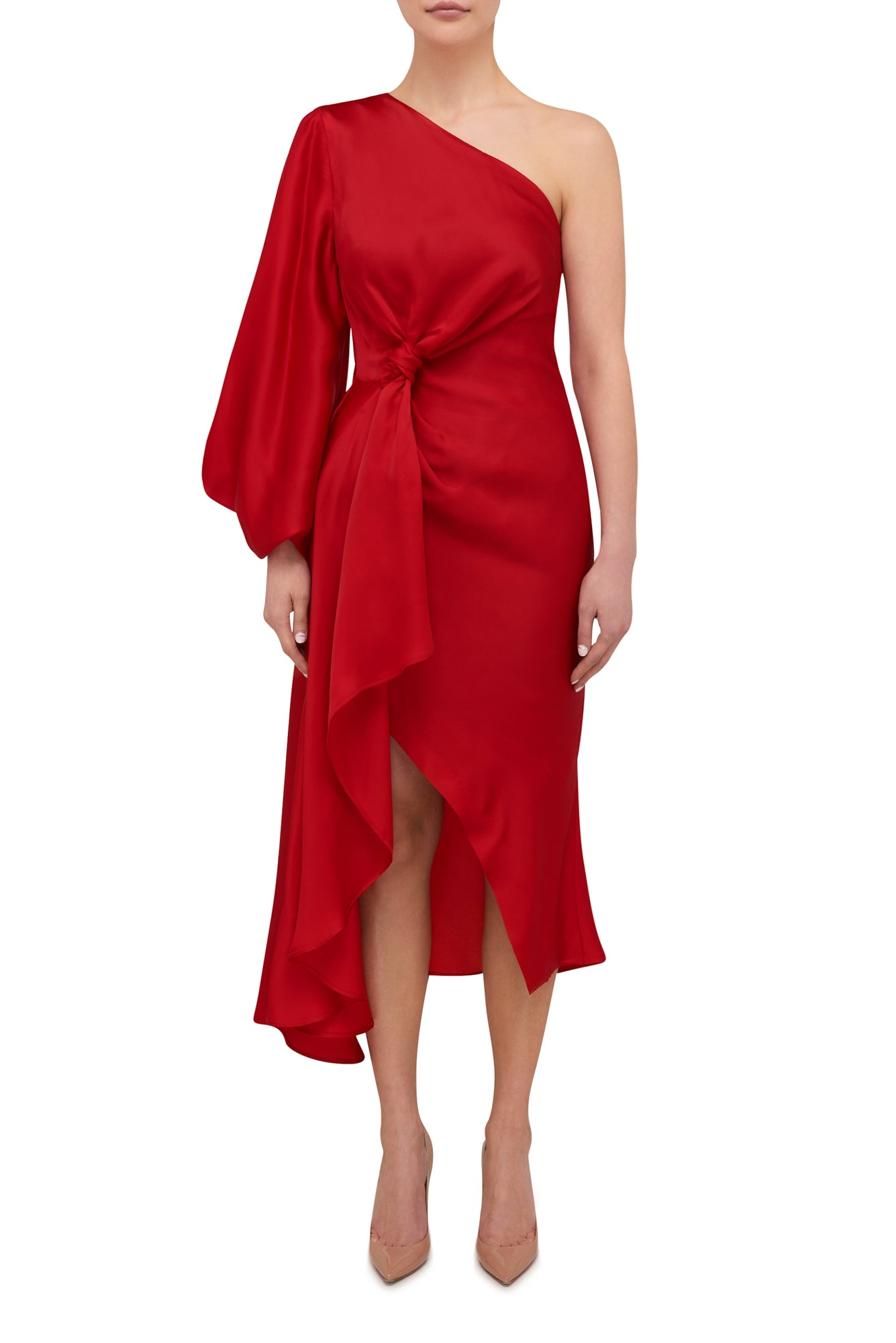 Attitude Scarf Knot Dress - Scarlett Red