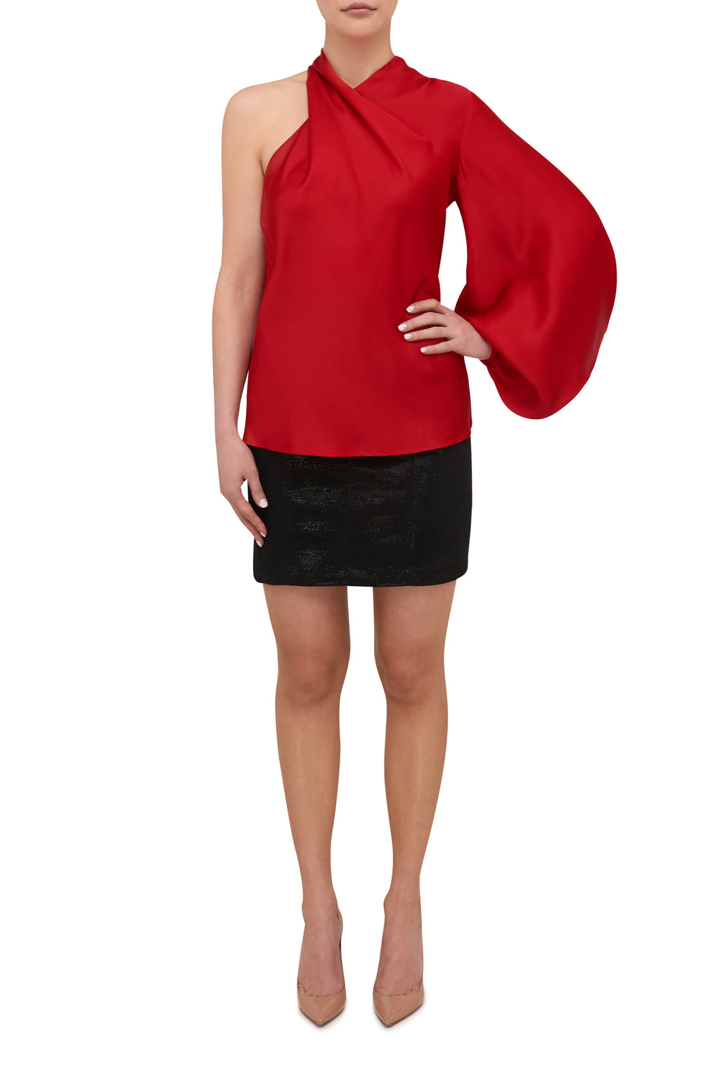 Attitude One Sleeve Blouse - Scarlett Red