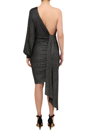 Electra Mini Drape Dress - Metallic Silver
