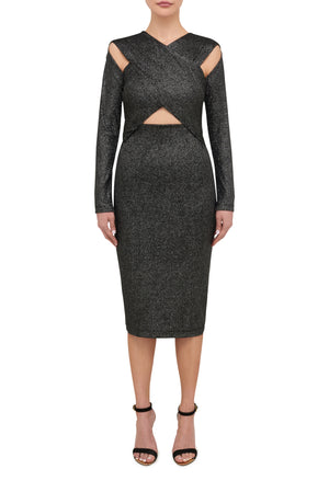 Electra Midi Dress - Metallic Silver