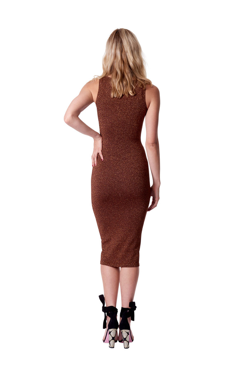 Astrologia round neck knit dress - rust