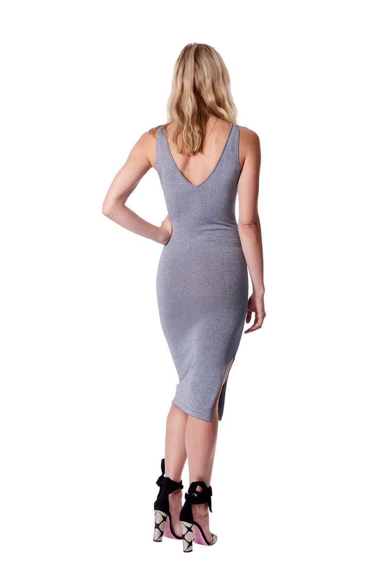 Astrologia v neck sleeveless dress - silver