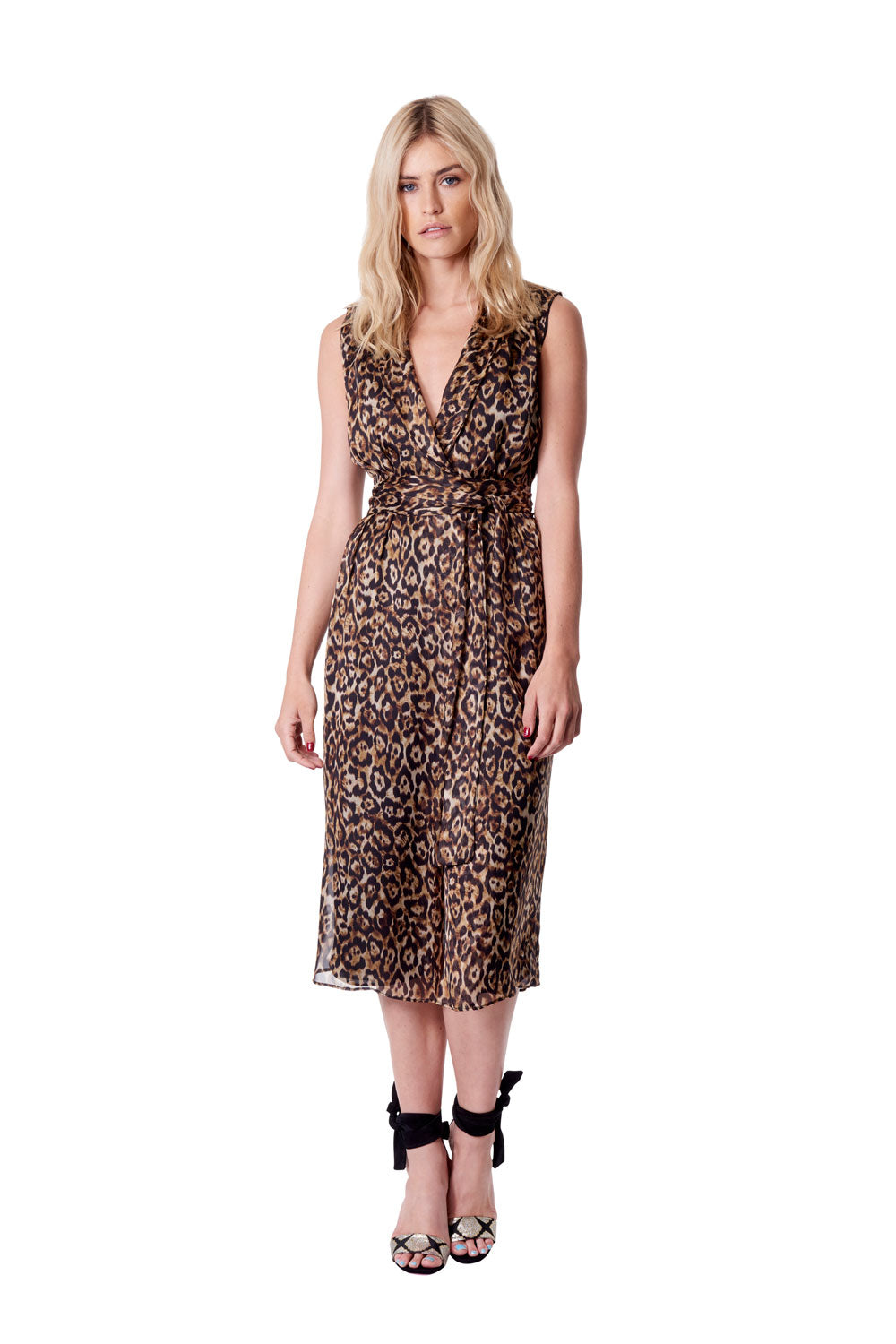 Queen of the Jungle Slv'less Wrap Dress Leopard