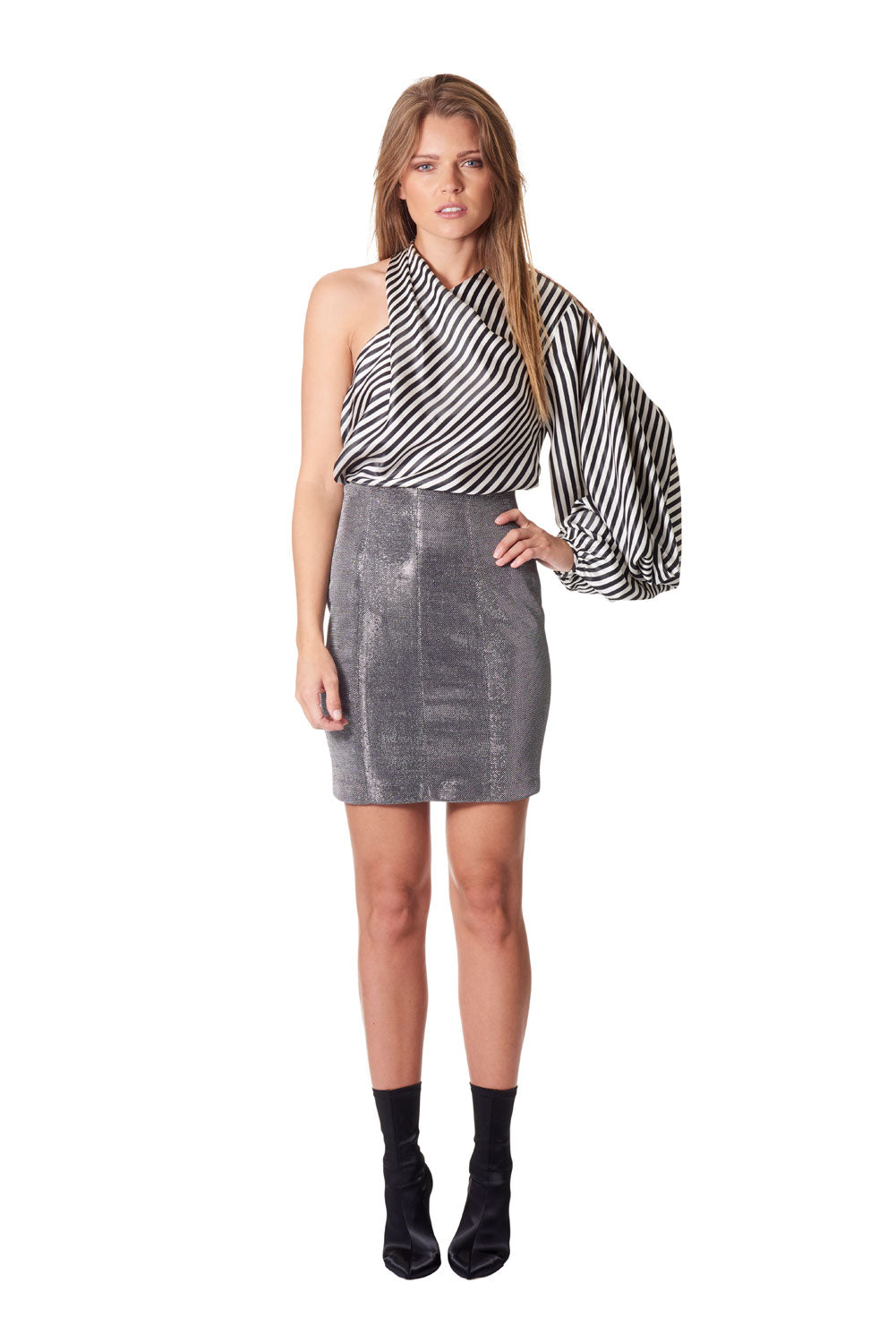 Attitude high waisted mini skirt - Silver