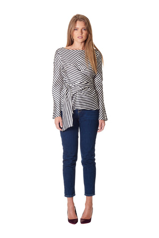 Attitude One Sleeve Blouse - Navy Stripe