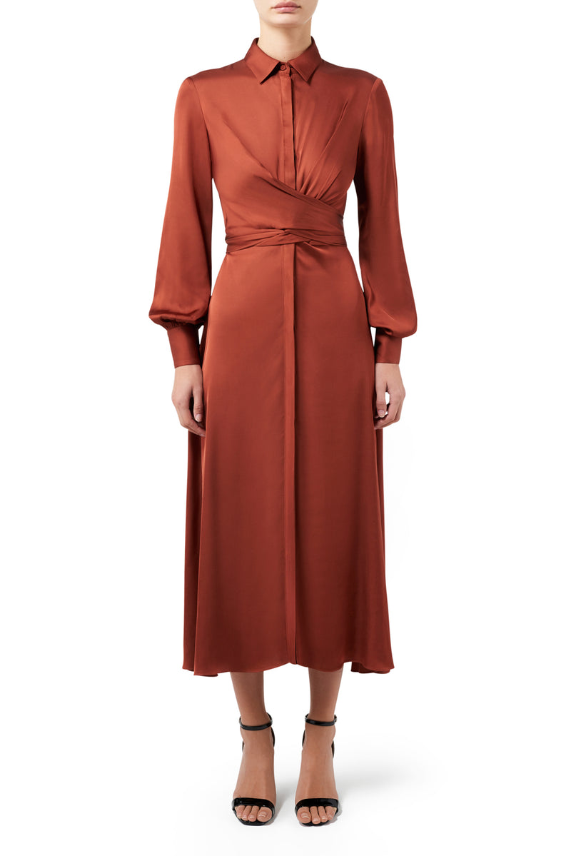 The Athenian Shirt Dress - Cinnamon