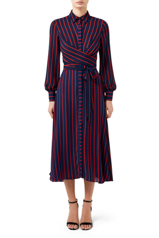 Kiki Split Front Dress - Rust Stripe