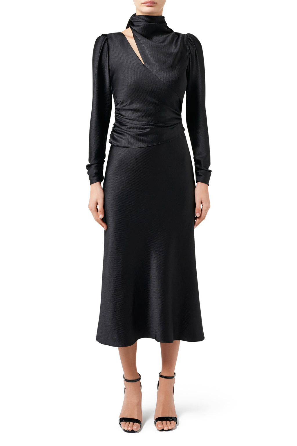 Porsche Tie-Neck Midi Dress - Black