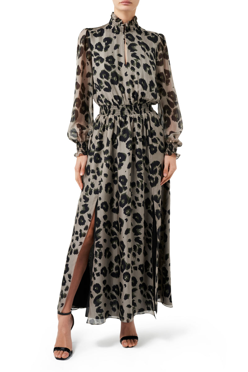 Kiki Split Front Dress - Leopard  / PRE ORDER