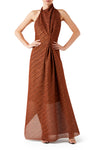 Aphrodite Halter Dress - Rust