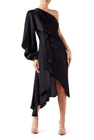 Attitude Scarf Knot Dress - Black