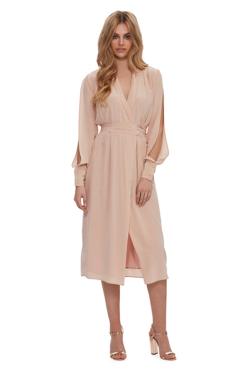Queen of the Jungle Silk Wrap Midi Dress - Blush