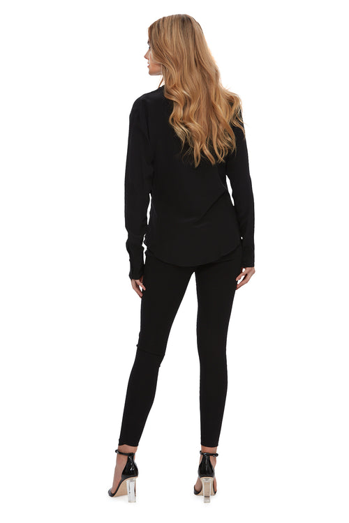 Queen of the Jungle Silk Cowl Blouse Black