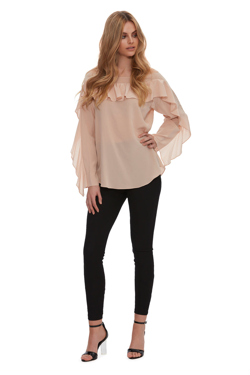 Queen of the Jungle Silk Frill Top - Blush