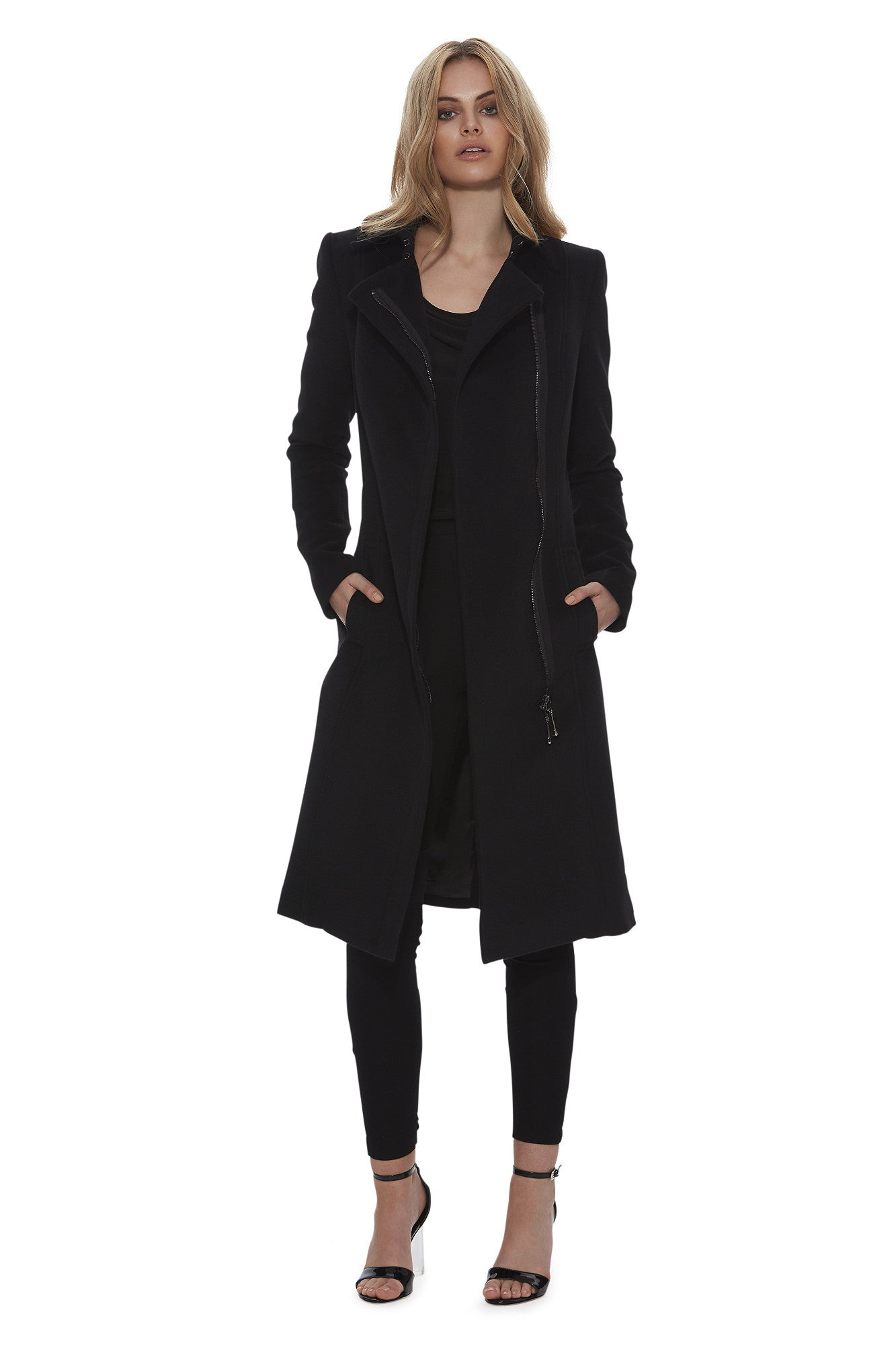 Midnight Glow Asymmetric Wool Coat