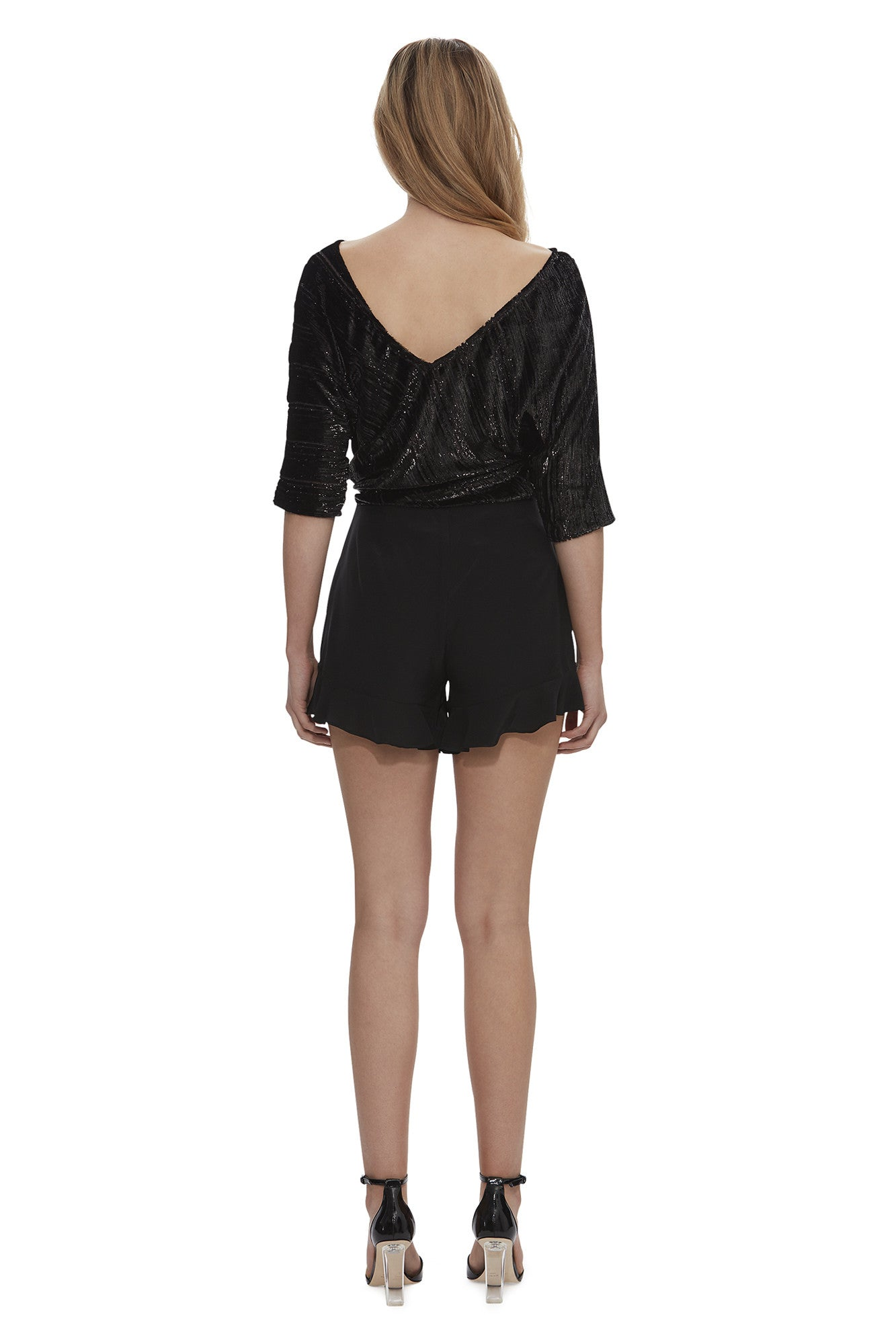 Queen of the Night Metallic Stripe Batwing Top