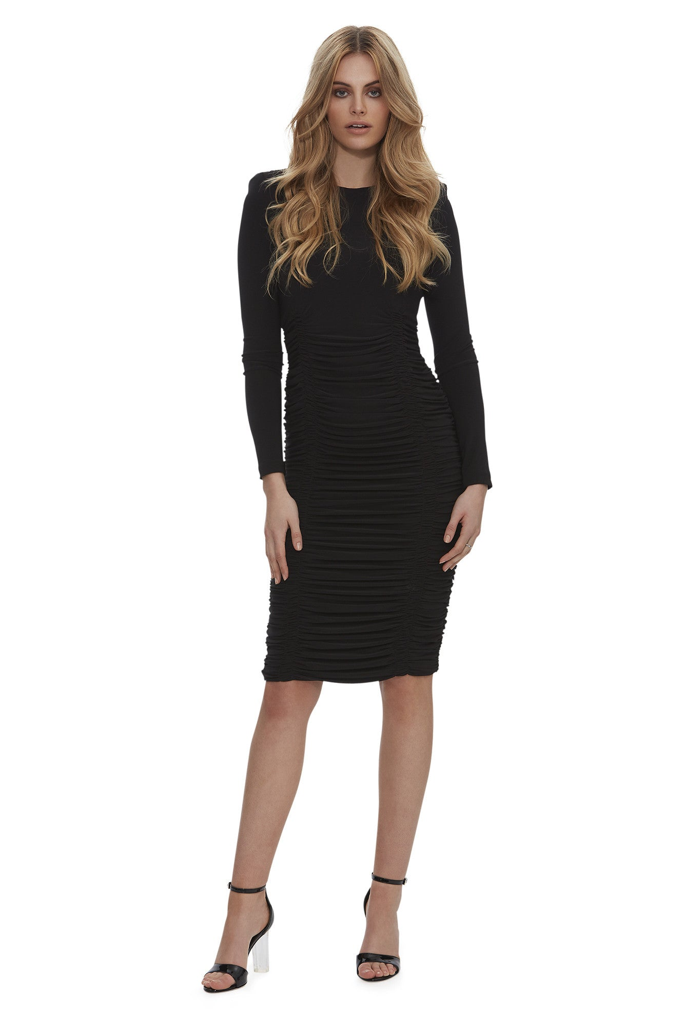 Queen of the Night Ruched Midi Dress