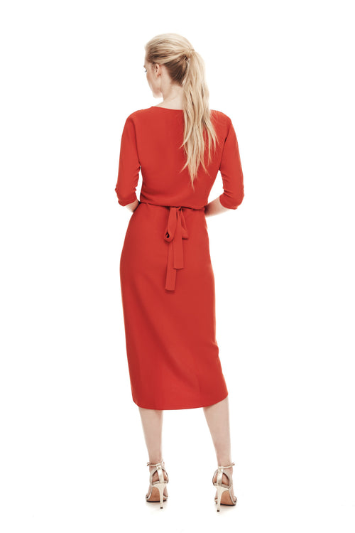 The Athenian Wrap Dress - Flame