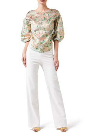 Liliana Brocade Twist Sleeve Blouse
