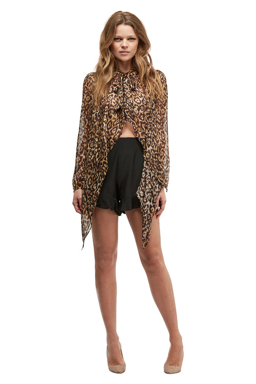 Queen of the Jungle Silk Tie Blouse