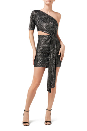 Electra One Shoulder Dress - Pewter