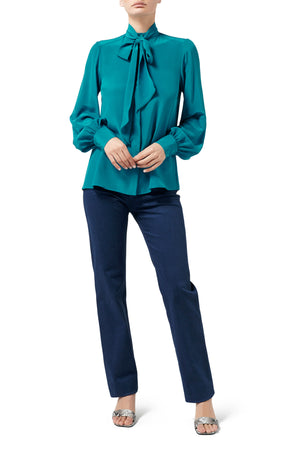 Quinn Pussy Bow Blouse - Peacock