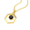 Wham Gemstone Necklace: Brass, 18K Gold Plating, Onyx