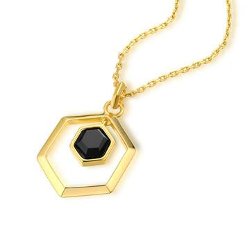 The Georgina Hexagon Necklace - Brass + 18K GOLD Plated + Black Onyx