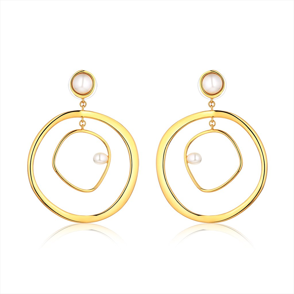 Mama's Pearl Hoop Earring-18K GOLD plating with Glass Pearls.