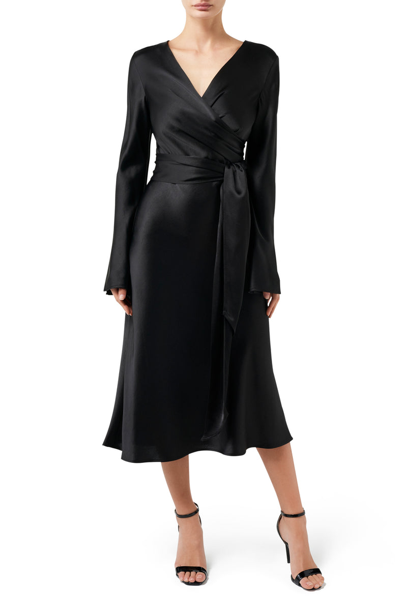 Desert Rose Wrap Dress - Black