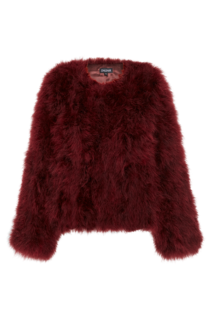 Zahlia Burgundy Red Feather Jacket