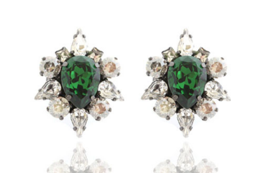 House of Emmanuele Silver Dynasty Emerald Studs