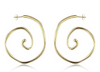 F&H Ozzy Gemstone Hoops:Brass+18K Gold Plating+Tigers Eye+Black Onyx