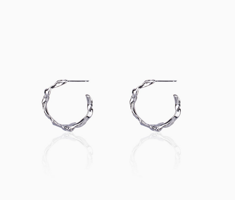 Iron & Bone Rippling Swirl Hoop Earrings - Small