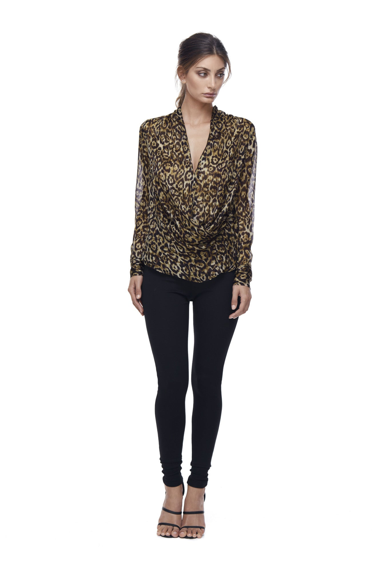 Queen of the Jungle Silk Cowl Blouse - Leopard