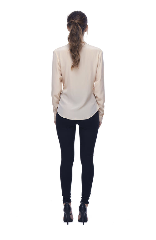 Queen of the Jungle Silk Cowl Blouse - Blush