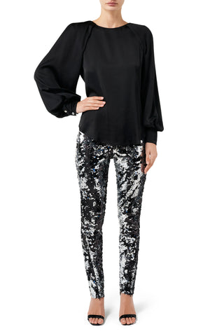 Fashion Rebellion Sequin Long Sleeve Top - Silver