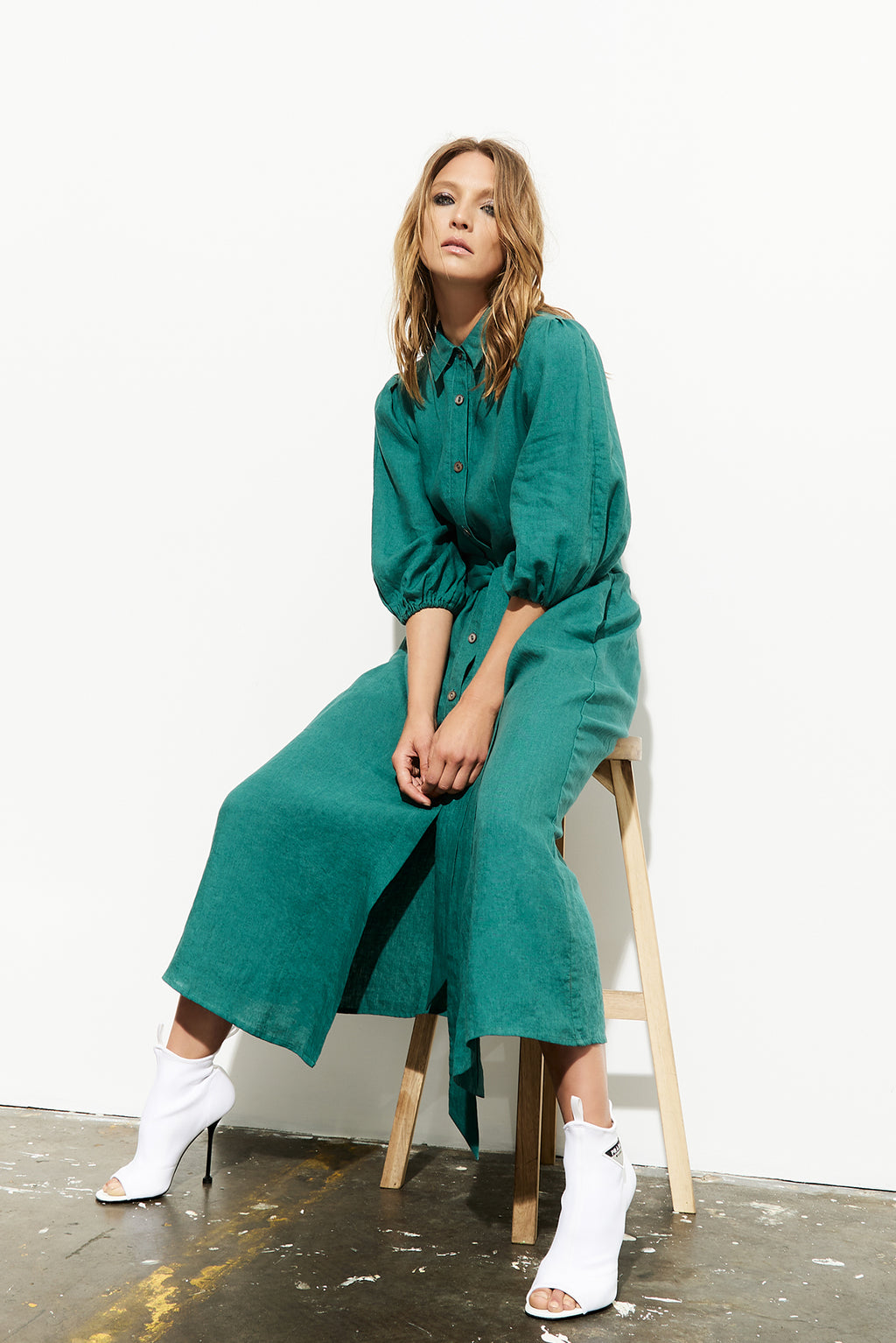 Anixi Shirt Dress - Emerald