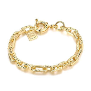 Ramones Hammered Chain Bracelet: Brass + 18K Gold