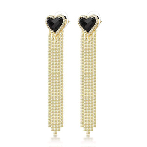 Dolly Crystal Earrings: Brass, 18k Gold Plating, Onyx, Topaz