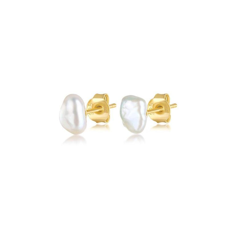 F&H The Grace Pearl Stud Earrings 18K Gold Plated+Fresh Water Pearl